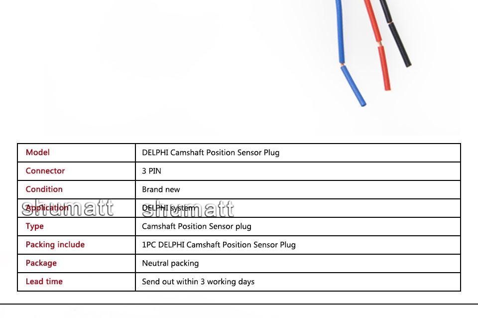 3 PIN Female Connector DELPHI Camshaft Cam Position Sensor Plug
