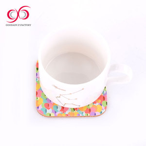 Hot sell wooden coffee mdf base paper tea cup mat pad coaster