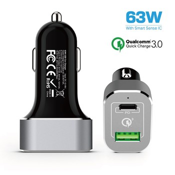 CE FCC RoHS ULcertified car charger ,63W Car charger with PD,usb car charger