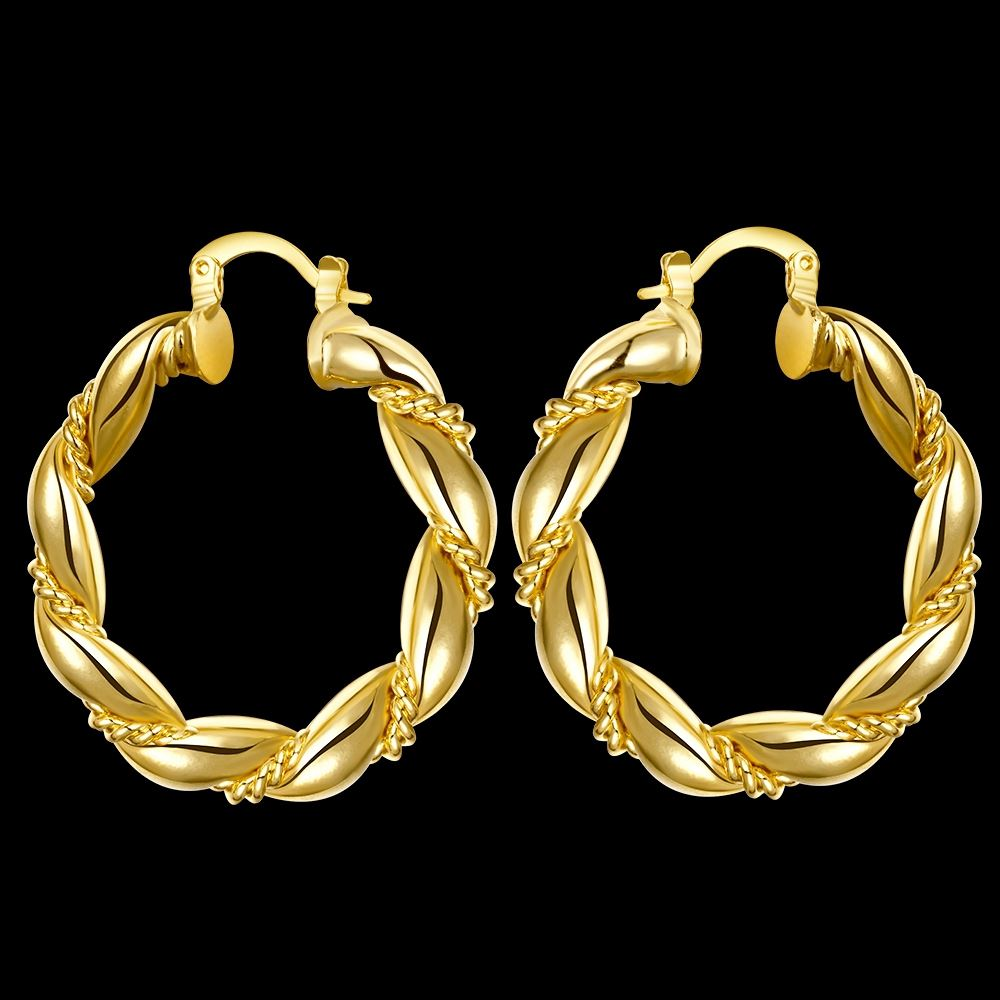 Unique Big Hoop Earrings 18K Gold & Rose Gold Plated Copper Fashion Jewelry Wholesale Free Shipping Earrings for Women Brincos
