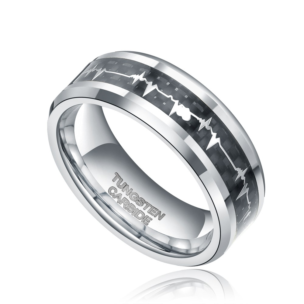 info pour 95db7 d4958 2019 Bague Homme 8mm Carbon Fiber Inlay Heartbeat Cardiogram Man'S Tungsten  Carbide Ring Couple Jewelry Men Rings Wedding Band Anel Masculino From ...