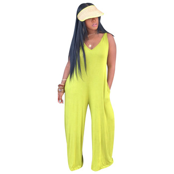 Cheap In stock fashion one piece jumpsuit for women yellow jumpsuit with cap