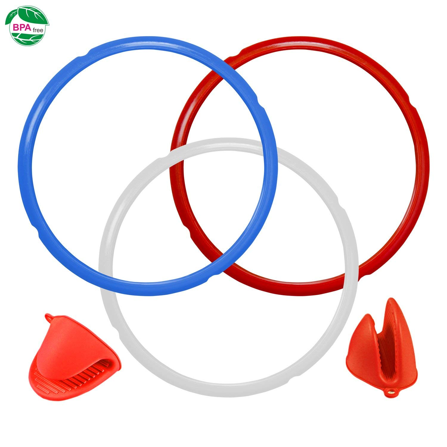 Silicone Sealing Ring for Instant Pot Accessories 8 Quart Sweet and Savoury Edition Seal Lasting & BPA-free Pack of 3 with 1 pair of Silicone Oven Mitts Free ( Blue,Red,Clear)
