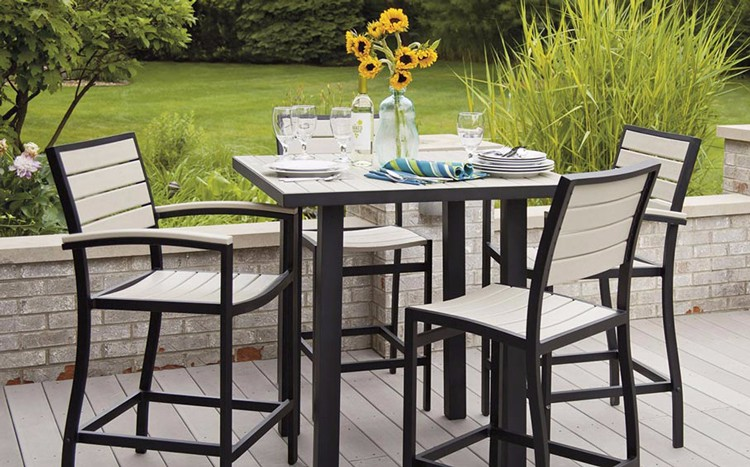 Fancy Powder Coated Aluminum Frame Poly Wood Patio High Dining Set Outdoor Bar Furniture