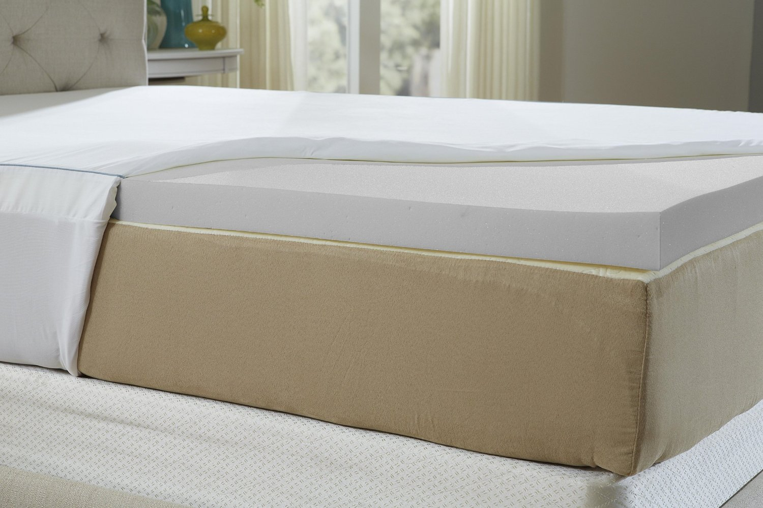 Natures Sleep Cool IQ Twin Extra-Long Size 2.5 Inch Thick, 4.5 Pound Density Memory Foam Mattress Topper with 18 Inch Fitted Cotton Cover