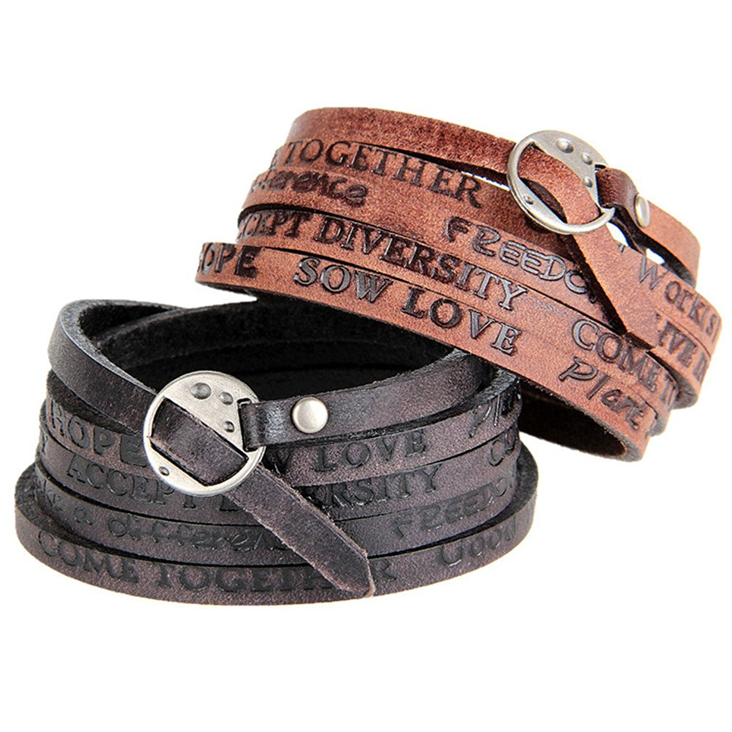LiFashion LF Mens Handmade Brown Cowhide Leather Heartbeat Wristband Heart Beat Stethoscope Love Adjustable Bracelet for Boyfriend Husband for Engagement Anniversary Birthday Dated Gift
