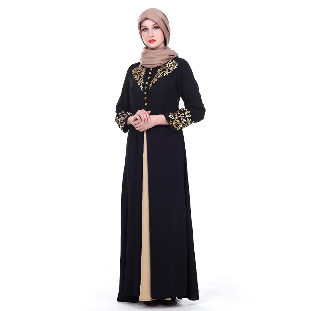 Zakiyyah Z180502 Islamic Clothing Turkish Abaya Kimono With Embroidery Design Thickened Chiffon Black color In Dubai