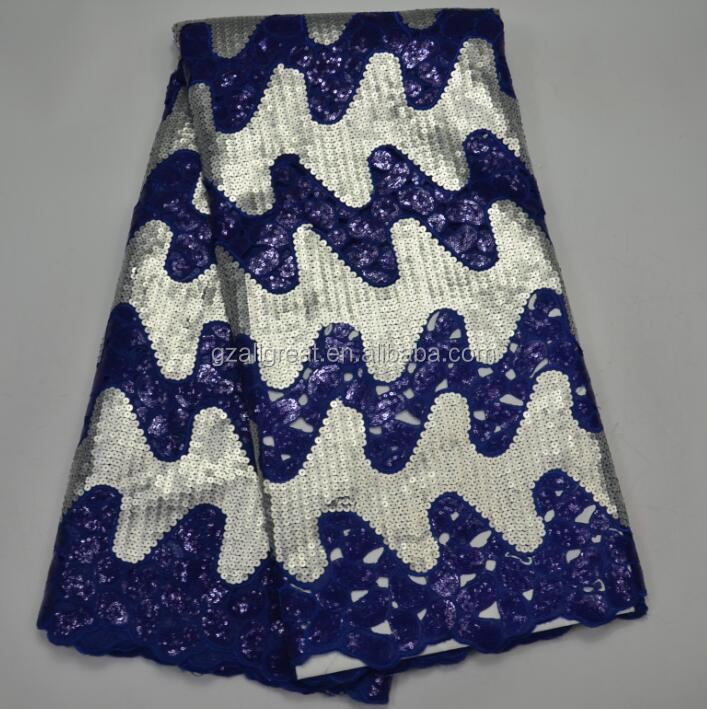 AG9014#1 royal blue High quality african lace fabric,hand cut organza sequined lace with full sequins
