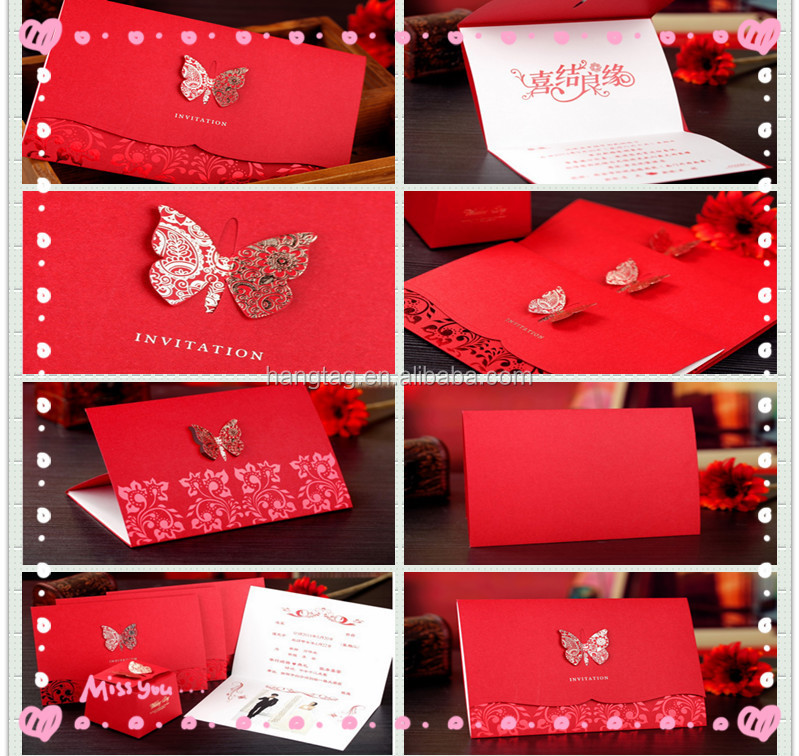 gold butterfly decoration red wedding invitation envelope paper card