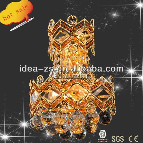 hotel brass bedside crystal wall lamp lighting