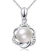 ATHENAA Twisty Flower Freshwater Pearl Pendant 925 silver Silver Chain Necklace