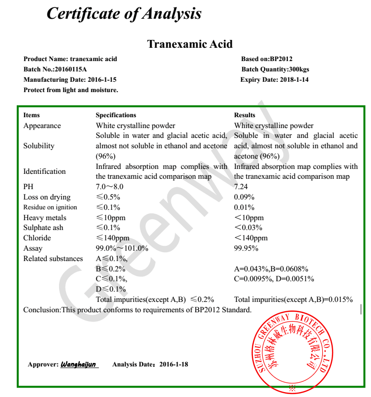 BP Tranexamic acid, tranexamic acid powder, tranexamic acid whitening