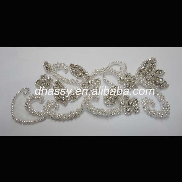 New style wedding dress silver beads crystal rhinestone appliques for garment