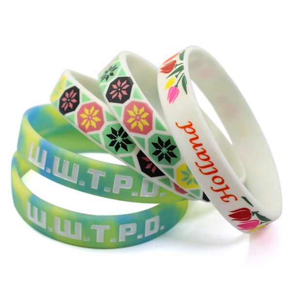 Eco-friendly Material printing Silicone Wristband/bracelet hot sell silicon bangle