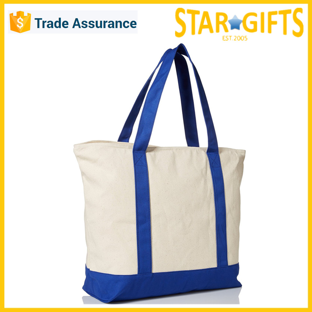 Royal Blue Custom Printed Cotton Canvas Tote Cloth Bag For Everyday Use