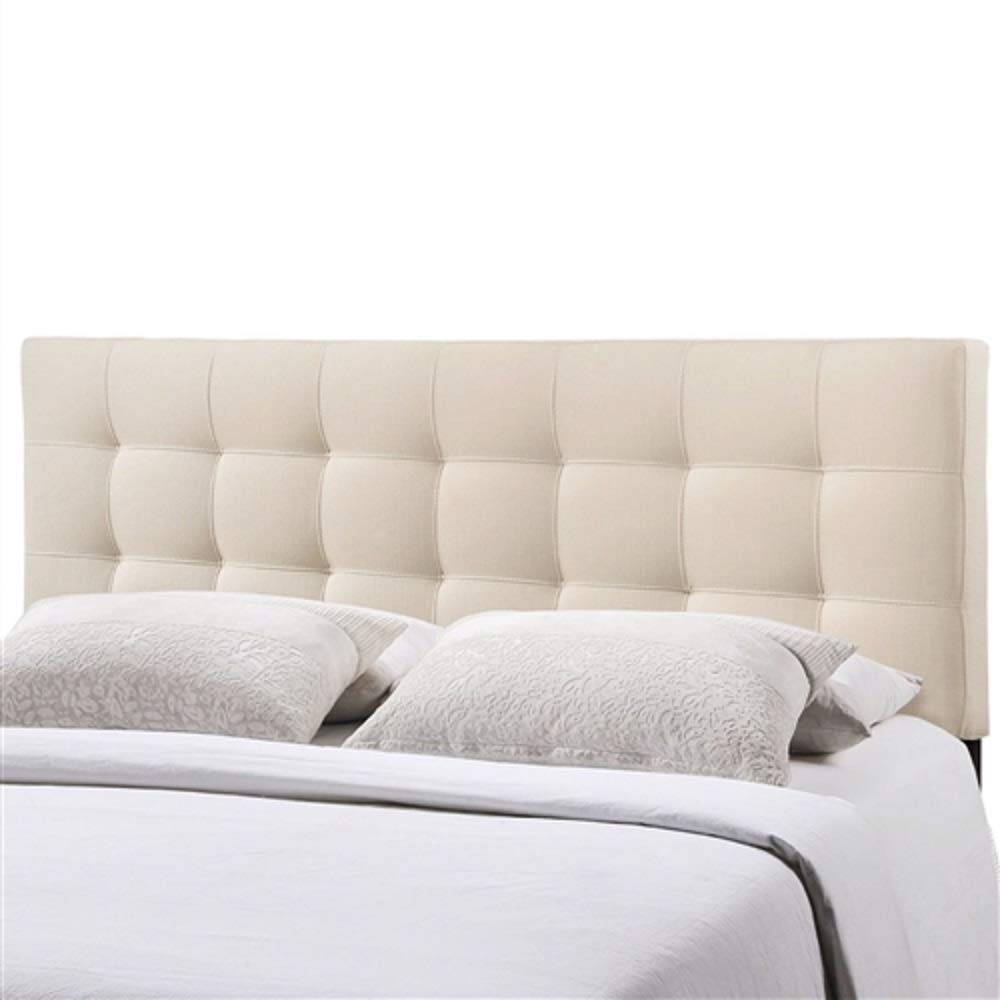 Queen Size Ivory Fabric Padded Mid-Century Upholstered Headboard Bedroom Furniture Modern Wall Panel MyEasyShopping