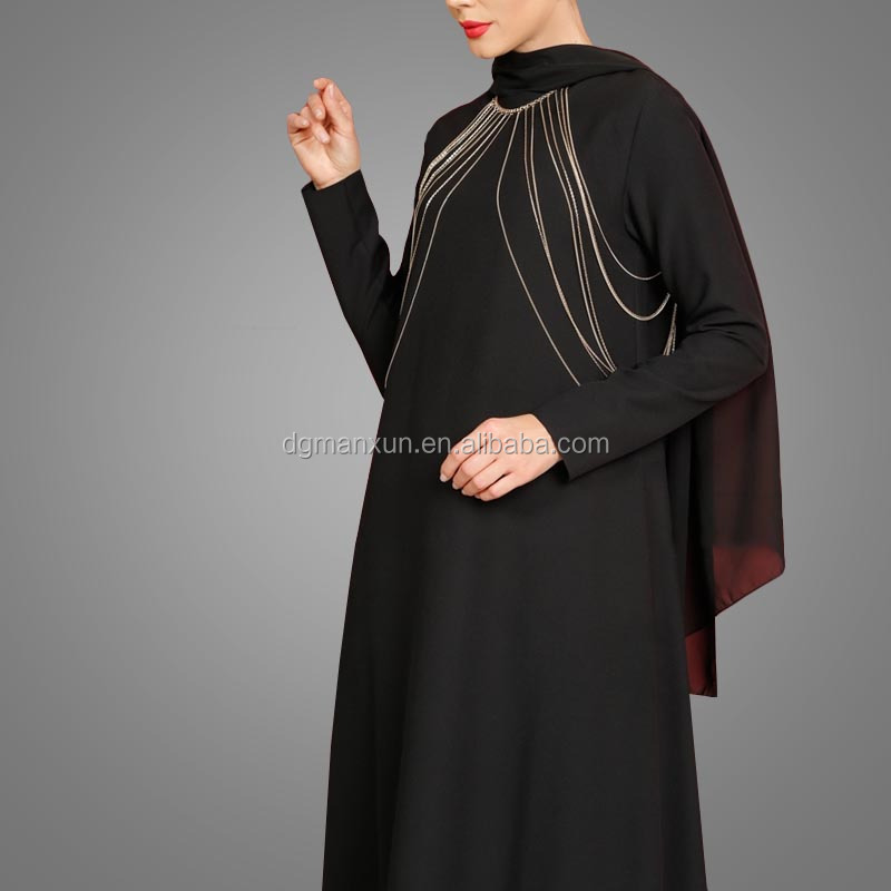 Fashion Islamic muslim evening dress for ladies black abaya in dubai 2017