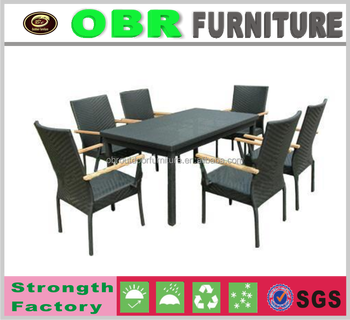 New Design Rattan Dining Set Arm Chair Garden Furniture Plastic Black Dining  Table And Chair