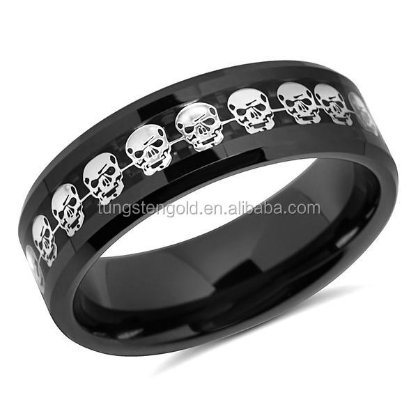 Latest Jewelry Men's 8mm Black Ceramic Ring Silver Skull Inlay Carbon Fiber Wedding Band