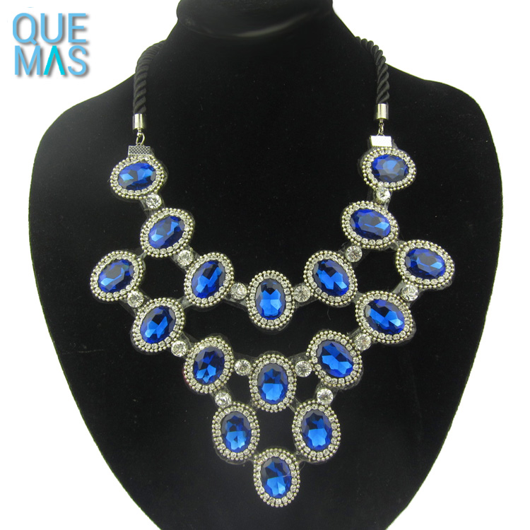 Custom Jewelry Wholesale Luxury Blue Gem Stone In Necklaces Diamond Necklace Price In India
