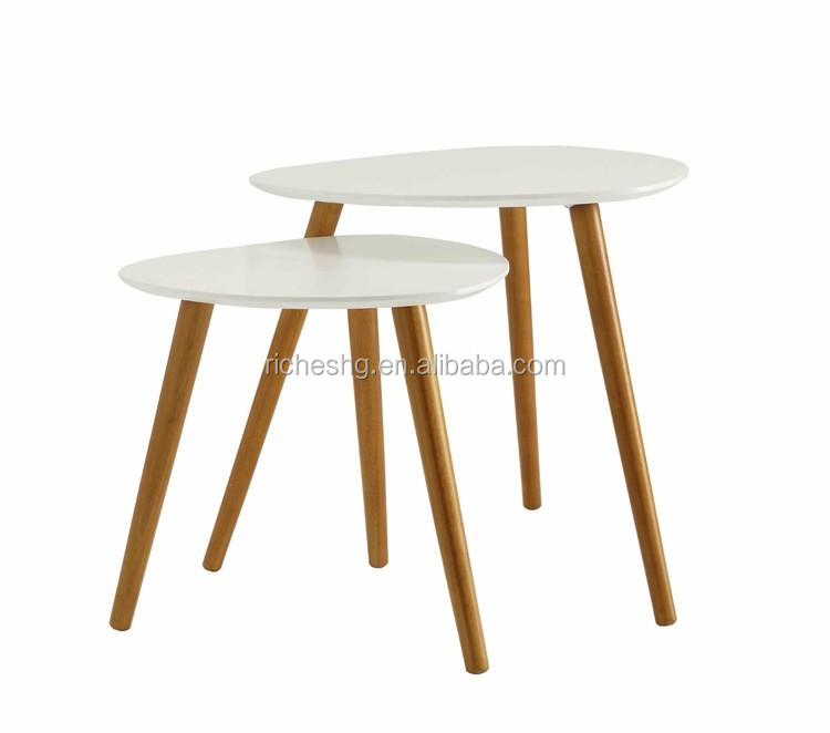 Round Wood Hairpin Coffee Table: Three Hairpin Legs Modern Tray Top Sofa Side Table Wood