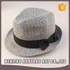 Promotional Foldable Straw Hat Men Women Fedora Cap Trilby Straw Black Band Jazz Hats