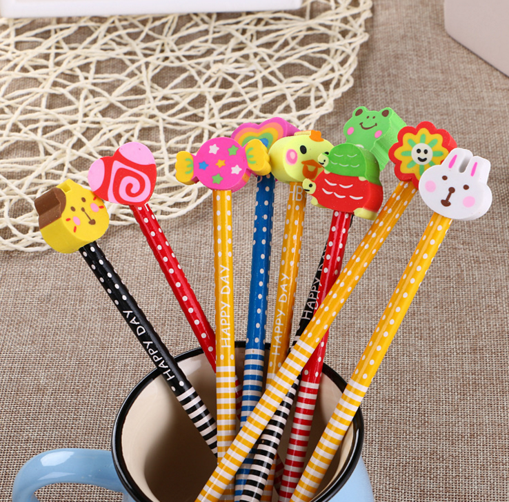 Cute with rubber creative learning stationery cartoon pencils for kindergarten prizes