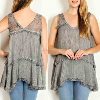 korean style clothes CRINKLED LACE TRIM TIERED TOP women models chiffon blouse