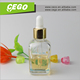 Newest shape for 30ml transparent square glass dropper bottle with gold cap white rubber top in stock