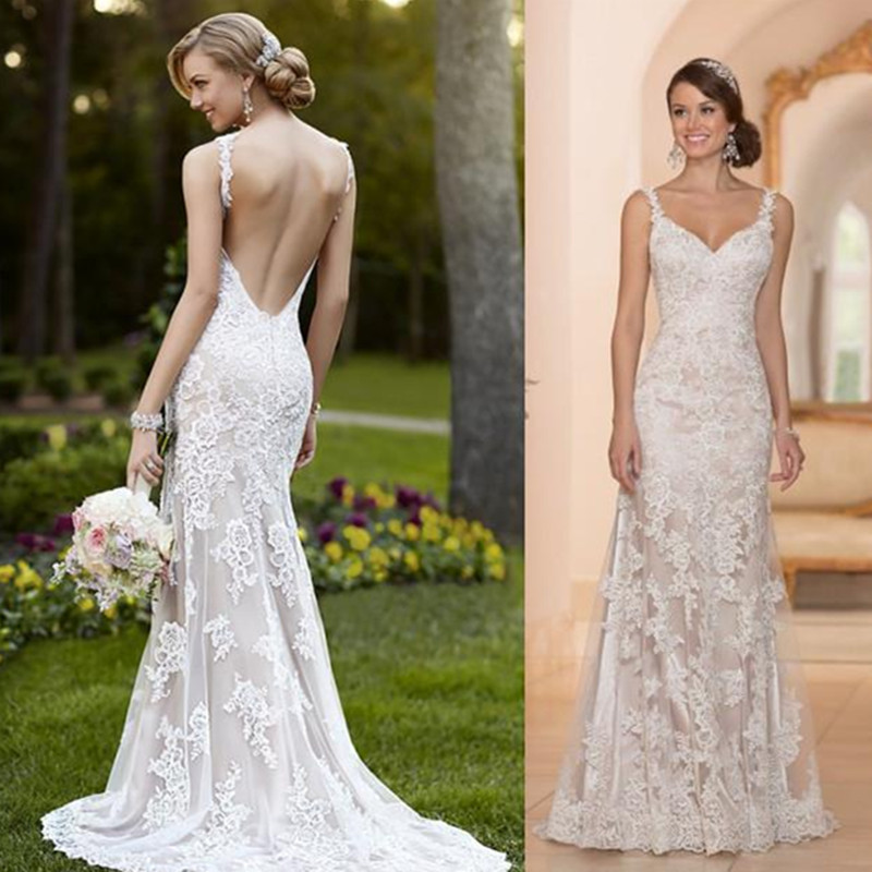 Lace Wedding Gown With Straps: Newest 2016 Wedding Dresses Sheer With Lace Sheath