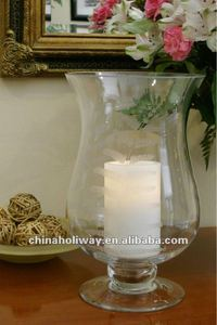 Concordia Etched Leaf Glass Footed Hurricane Candle