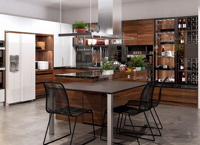 OPPEIN 2020 new design modern Wood Grain UV Lacquer kitchen cabinets set