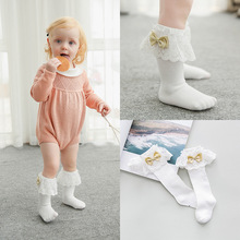 C74123A Fashion Hot Sale Kids Socks Wholesale Knee High lace Socks