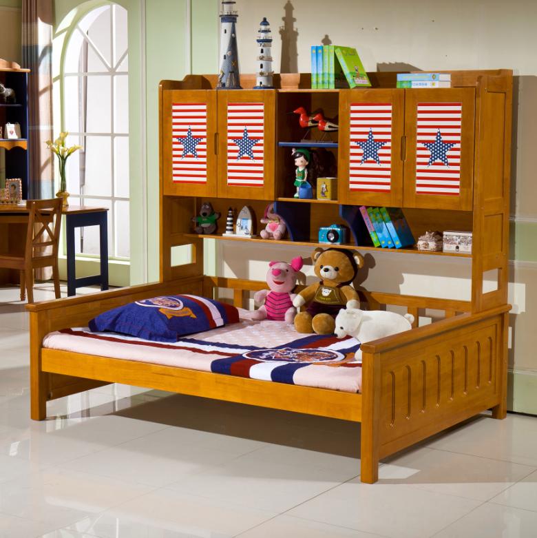 Letto con armadio in legno massello di quercia mobili per camera ...