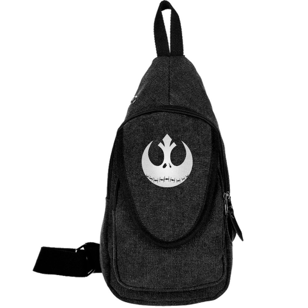 Koorol Nightmare Before Christmas Jack And Star Wars Rebel Alliance Cool Outdoor Sports Casual Canvas Unbalance Backpack Crossbody Sling Bag Shoulder Bag Chest Bag.