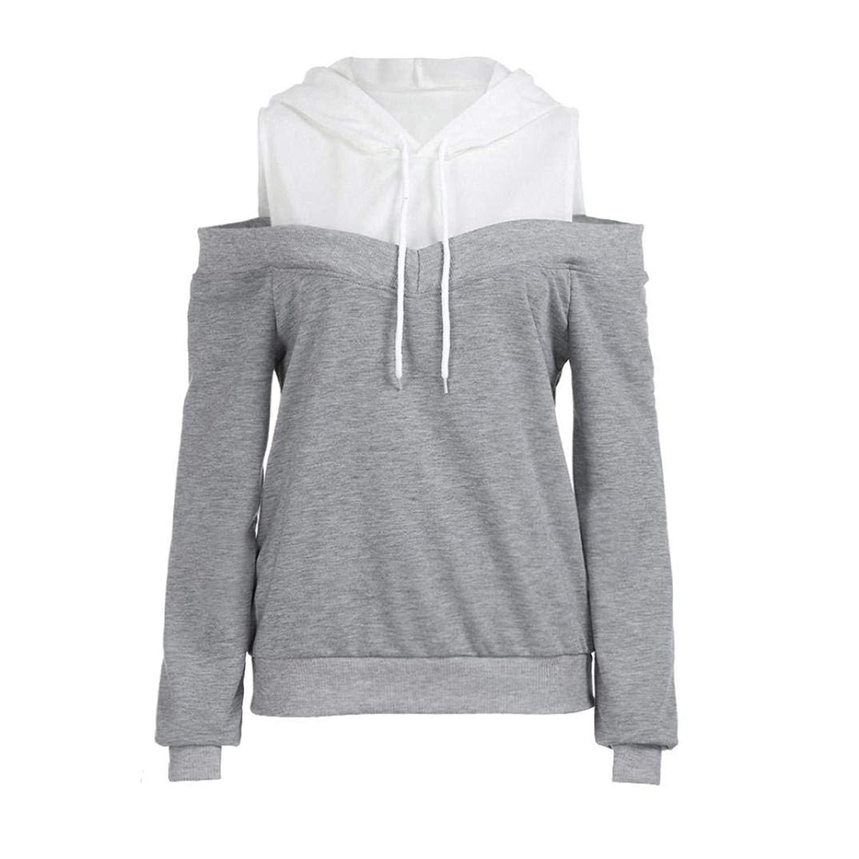 baf9dcd6cf432a FDelinK Clearance! Women Cold Shoulder Hoodies Pullover Colorblock Hooded  Sweatshirts Sweater Teen Girls