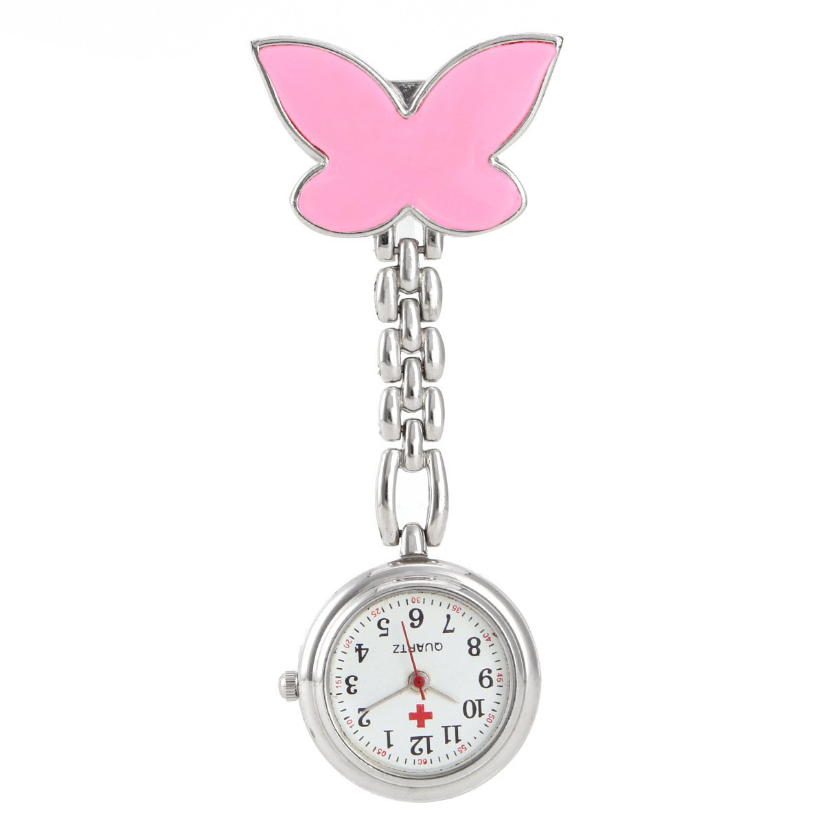 abefdb2aab4 Get Quotations · Pocket Watch, GreenDimension Pink Cute Nurse Watch Clip-on Fob  Brooch Pendant Hanging Butterfly