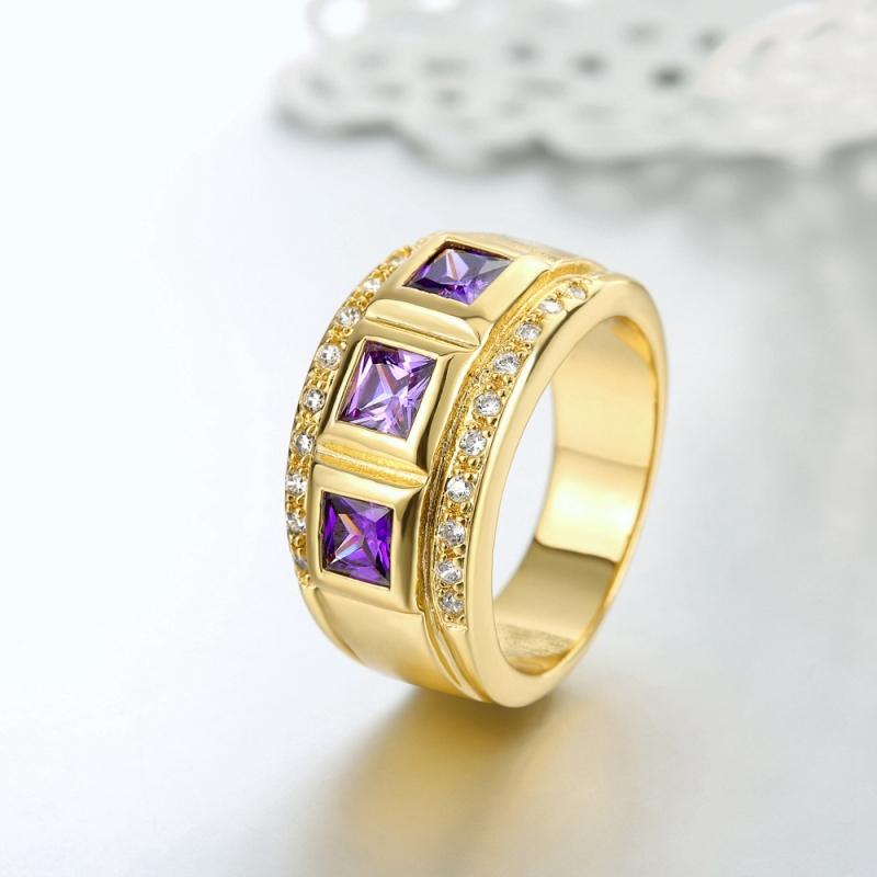 16 K Gold Three Stones Amethyst New Design Gold Finger Band