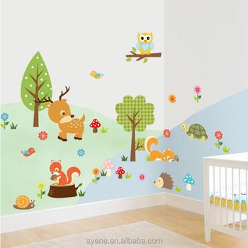 Boom Behang Babykamer.3d Nieuwe Cartoon Bosdieren Boom Uil Eekhoorn Babykamer Home Decor