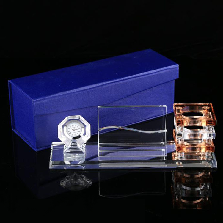 Custom Made Unique gifts Crystal Desk Set crystal clock and cube business card holder and pen gift set