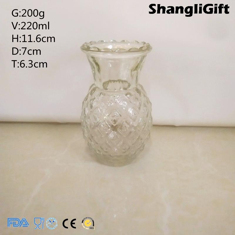220ml Pineapple Glass Vases Clear Glassware Household Decoration