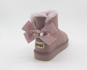 fae3be79c Lovely and funky winter boots women with delicate bow pins ankle boots  ladies