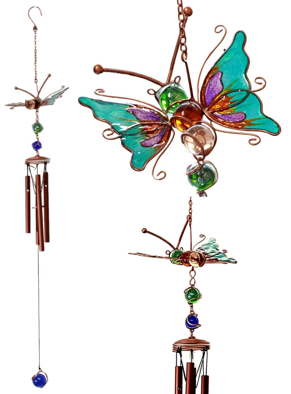 """Atlantic Collectibles Stained Glass Flitting Butterfly Copper Metal Wind Chime 28""""Long Resonant Outdoor Patio Garden Decor Accessory"""