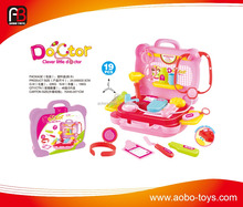 Colorful plastic educational kitchen set toys suitcase of kids