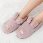 Wholesale custom rabbit style fuax fur warm slippers home indoor soft cute women plush slippers bedroom shoes winter slides