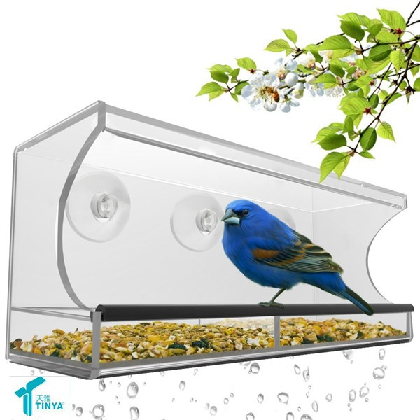 Hot 2016 Rectangle Customize Bird Seed Feeder ,Crystal Clear Window Bird Feeder,Acrylic Hanging Bird Water Feeder Wholesale