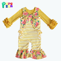 New desgin floral bowknot infant boutique clothing newborn ruffle longall with pockets baby romper wholesale