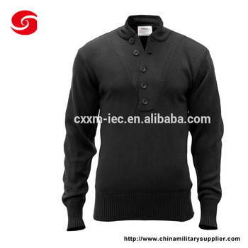 Single breasted Black Color Police Wool Pullover Knit Sweater