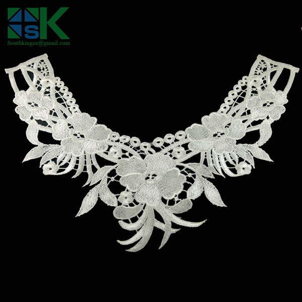 DIY accessories 2016 new arrival sk collar 2pcs/lot White Embroidery Collar Lace hollow Flowers soluble lace Neckline Applique T