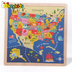 2016 wholesale baby wooden map jigsaw puzzle, fashion kids wooden map jigsaw puzzle, children wooden map jigsaw puzzle W14C141
